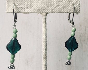 Swarovski Emerald Beaded Celtic Drop Earrings