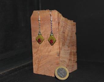 Small square earrings symmetrical fantasy