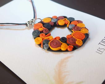 Necklace in shades of oranges, swirls, spirals, ethnic, boho, Bohemian, colorful, unique
