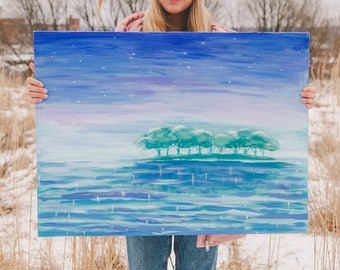 Original landscape painting ready to ship acrylic artwork interior horizontal trees water stars