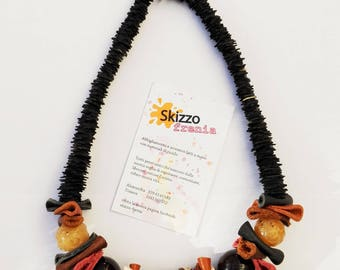 Choker necklace made with leather, recycled inner tube and stones