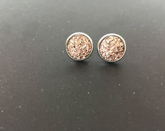 Cabochons of Rose gold earrings