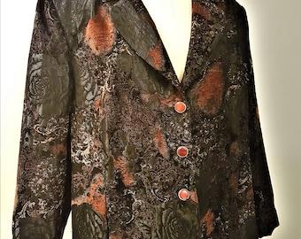 "Vintage ""Oversized"" Jacquard woven Brocade Blazer Jacket"