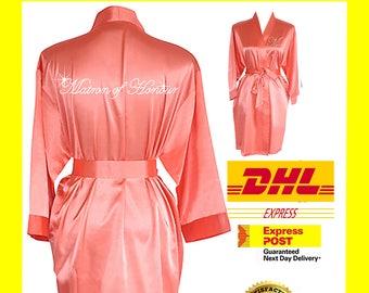CORAL Bridesmaid Robes / Bride Robe / Bridal Party Robes / Bridesmaid Gift / Bridal Robe / Monogrammed /Personalised Robe / Plain / Gown