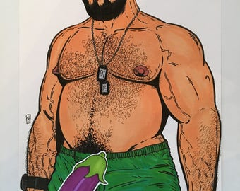 GAY BEAR ART Big Daddy Original Male Illustration Hairy Dude Hot Beard Lgbt Drawing - Pen, Ink, Markers
