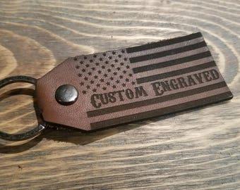 American Flag Key chain w/ custom engraving