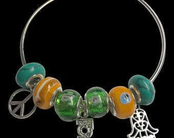 Peace & Love Bangle Bracelet
