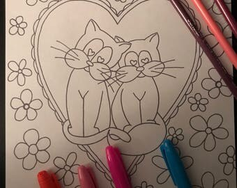 Kitty Krayonz Valentine's Day Colouring Page