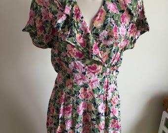 Vintage Nina Piccalino Pink Floral Tea Midi Dress