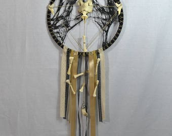 Large Gothic Dreamcatcher, Giant pirate dreamcatcher, original dreamcatcher, unique dreamcatcher, dreamcatcher with bones