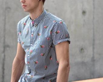 Allover printed pattern short-sleeves shirt