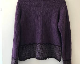 Aubergine Hand-knitted sweater