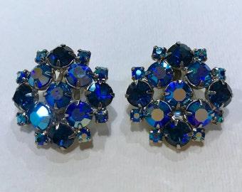 Vintage Blue Rhinestone Cluster Chip Earrings