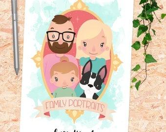 Custom digital Family portrait (4 persons/pets)