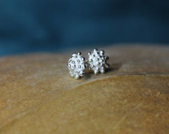 Earrings, silver, filigree, granulated