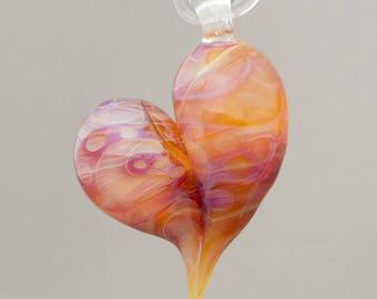 Lampwork Off mandrel heart pendant Focal bead made of Boro glass