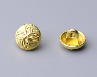 10pcs leaf button gold metal button 10mm round shank button shirt button