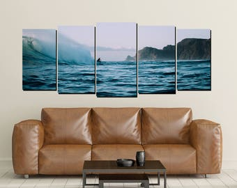 Surfing Canvas Wall Art, Surfer Ocean New Zealand Surf Waves Print Shore Large 5 Panel Home Decor, Beach House Down Under