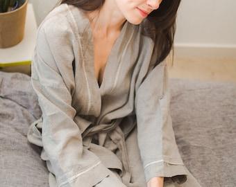 Natural Linen Bathrobe Preshrunk and Softened