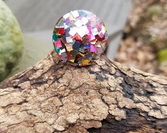 CONFETTI Re-purposed Vintage Clip Earring to Ring. WOW!