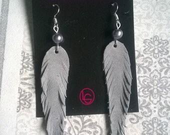 Grey Handmade Leather Earrings