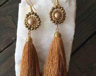 Long Tassel & handmade earrings!
