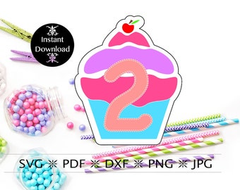 Cupcake Number Two SVG Cut File