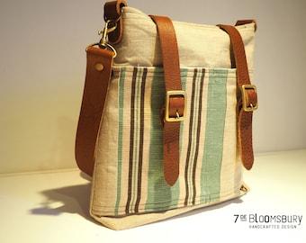 "Linen and leather handbag ""Proa"""