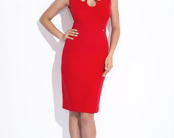 Red dress with openwork XS