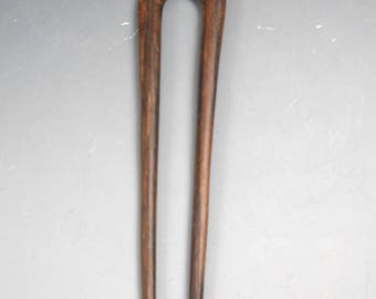 """Sono Wood Vintage Hair Stick Hand Carved """"See No Evil"""" Monkey Double Prong"""