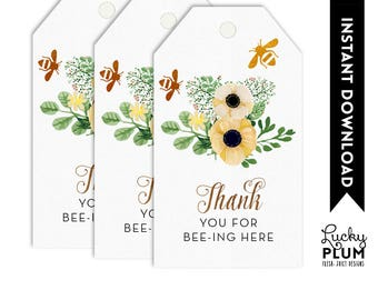 Bee Favor Tag / Bee Thank You Tag / Sunflower Favor Tag / Flower Favor Tag / Spring Favor Tag / Gold Geometric Favor Tag BE01