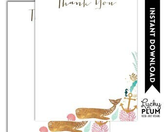 Whale Thank You Note Card / Nautical Thank You Note Card / Ocean Thank You Note Card / Pink Blue *Digital Printable WH03