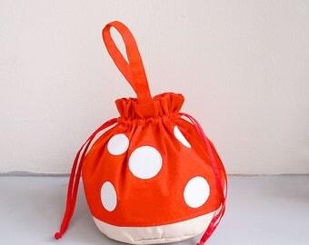 Orange Mushroom Pouch, Mushroom Bag, Toadstool Bag, Mushroom Purse, Drawstring Bag Women, Drawstring Bag Kids, Drawstring Purse,Twinning Bag