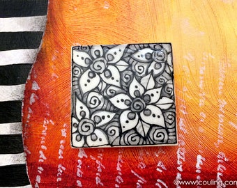 Artistic Kitchen Magnets - Stylized Flowers - Clay / Pottery 2X2 Hand Painted Ceramic Tile by artist, Cindy Couling