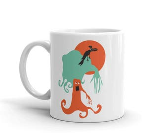 Toucan Sunset Monster Tree Coffee Mug Illustrated Cup Cool Gift Unique Cups Valentines Day Gift for Boyfriend
