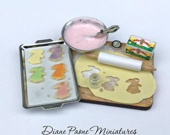 Making Homemade Bunny Sugar Cookies Preparation Board - IGMA Artisan Diane Paone Dollhouse Miniature Food
