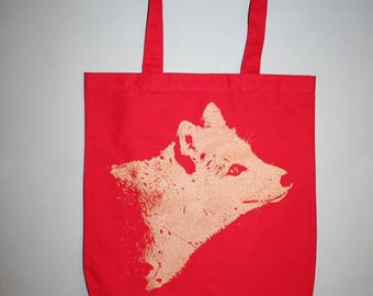 fox bag, red tote bag, gold fox tote, silkscreened bag, screenprinted - Unisex