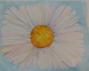 Daisy watercolor painting original 11 x 15 watercolor daisy blue background, daisy flower painting art, original painting