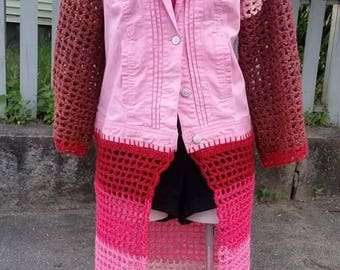 Upcycled Cotton Vest, Crochet Jean Jacket, Mixed Media Coat, Plus Size Fashion, Long Denim Upcycled Coat, Denim Sweater
