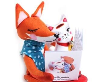 Fox and Lucky cat - with storybook - plush doll maneki neko fox