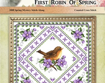 First Robin Of Spring Counted Cross Stitch Pattern