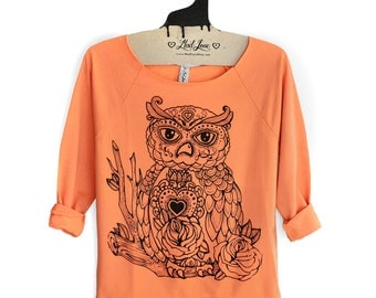 Small- Womens Sweatshirt Hand Dyed Orange Raw-Edge 3/4-Sleeve Raglan with Owl Screen Print- Sale