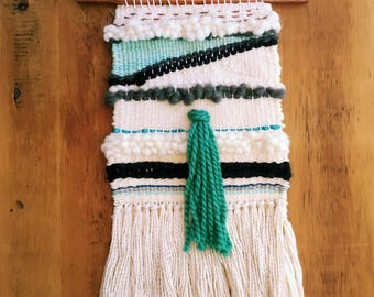 Ivory, gray, teal and copper woven wall hanging