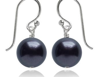 Swarovski Pearl and Sterling Silver Earrings in Night Blue or CHOICE OF COLOURS