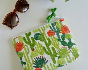 Zipper Pouch - Cactus Pouch - Make up Bag - Cosmetic Bag - Gift for Girls - Cactus Pouch - Bag Cactus - Bridesmaid Gift - Cactus Gift