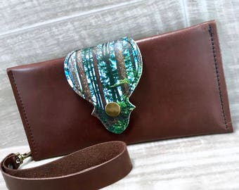 Leather Long Wallet fits Passport/ Phone with Wrist Strap & Zipper Pocket Dark Brown / Coastal Forest Print on 100% Genuine Leather
