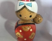 Vintage japanese wooden folk art kokeshi doll Mother and Child