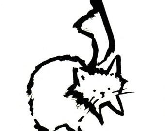 Original Black Cat Gouache Painting ACEO number 162