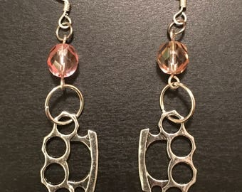 Silver tone brass knuckle beads and pink glass beaded dangle earrings with silver tone findings