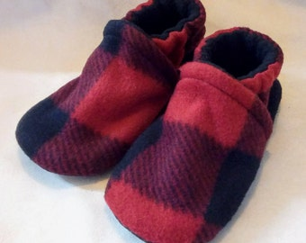 Red Buffalo Plaid: Soft Sole Baby Shoes 18-24M